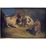 Terrier Puppies with a Kitten, oil on canvas, signed, circa 1900 is one of the works of art available at LOFTY.