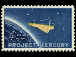 A four cent stamp commemorating Project Mercury.