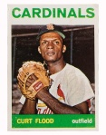 A low-quality copy of this Curt Flood card sells for about $30, but higher-quality cards can go for more than $1,000.