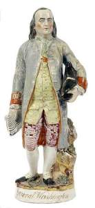 A Staffordshire figure of Ben Franklin, wrongly labeled General Washington sold for over $300.00