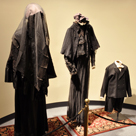 Authentic mourning clothing on display illustrates the strict rules that governed the life of a woman following her husband's death;  as shown here.